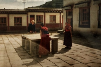 Me playing table tennis against a Tibetan Buddhist monk
